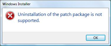 "Foutmelding ""Uninstallation of the patch package is not supported"""